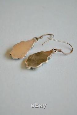 Vintage Small Navajo Opal Sterling Silver Leaf Design Earrings