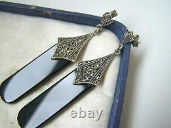 Vintage Solid Sterling Silver Onyx Marcasite Drop Dangle Earrings Unusual Rare