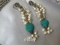 Vintage Solid Sterling Silver Turquoise & Freshwater Pearl Necklace Earring Set