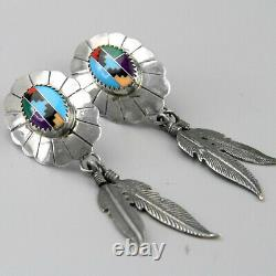 Vintage Southwest Concho Multi-Stone Sterling Silver Feather Inlay Earrings