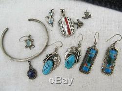 Vintage Southwest Sterling Silver Lot 11 pc Turquoise Earrings Bracelet 44grams