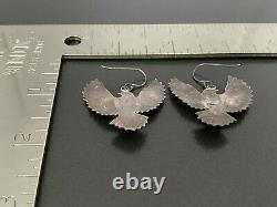 Vintage Southwestern Stampwork Thunderbird Sterling Silver Earrings