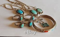 Vintage Southwestern sterling silver Turquoise coral Mop onyx jewelry lot