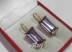 Vintage Soviet Earrings Gilt Sterling Silver 875 Alexandrite Stone Antique USSR