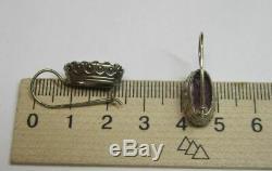 Vintage Soviet Earrings Sterling Silver 875 Alexandrite Stone Antique USSR