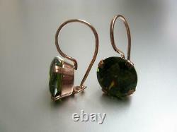 Vintage Soviet Earrings USSR Gilt Sterling Silver 875 Stud Ear Women Jewelry 7gr