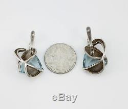 Vintage Soviet Era Russian Modernist Aquamarine Earrings Sterling Silver LQ15-F