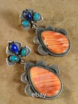 Vintage Spiny Oyster Turquoise Lapis & Sterling Silver Earrings