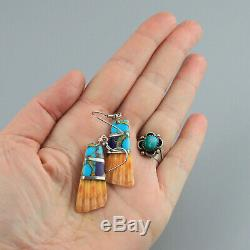 Vintage Spiny Oyster Turquoise Sterling Silver Shell Earrings Southwest Dangle