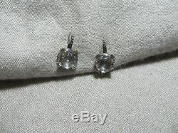 Vintage Stephen Dweck Sterling 925 Rock Crystal Hook Earrings Repousse Ornate 1