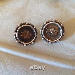 Vintage Stephen Dweck sterling round cameo coin sterling earrings