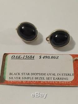 Vintage Stephen Dweck sterling silver 925 oval black diopside clip on earring