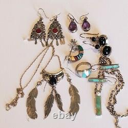 Vintage Sterling 925 5 Earrings 1 Ring 1 Kopopelli Lapis Brooch 2 Necklace Lot
