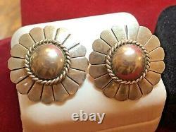 Vintage Sterling Earrings Signed Artie Yellowhorse Native American Navajo
