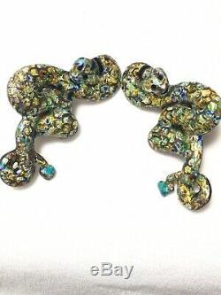 Vintage Sterling Enamel Margot De Taxco Snake Earrings