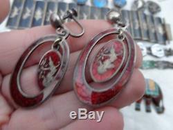 Vintage Sterling Enamel Siam Multi Color Bracelet Pin Earrings MIX Lot Estate