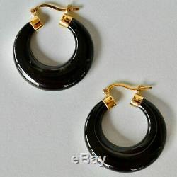 Vintage Sterling Gold Wash Onyx Hoop Earrings Chinese