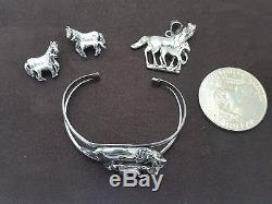 Vintage Sterling Handmade 3-D Horse Bangle, Charm, Earrings in Excellent Cond