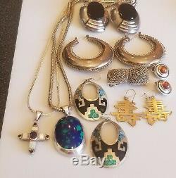 Vintage Sterling Silver 925 5 Earrings Mexico HK US Earrings Necklace Lot