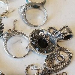 Vintage Sterling Silver 925 8 Rings 1 Pair Earrings Bracelet Onyx Necklace Lot