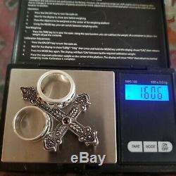 Vintage Sterling Silver 925 Earrings 4 Rings 3 Bracelets Garnet Cross Necklace
