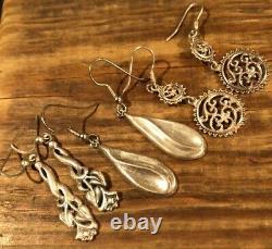 Vintage Sterling Silver 925 Goddess Tribal Dangle India Bali Travel Earrings Lot