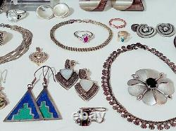 Vintage Sterling Silver 925 Jewelry Lot 461 grams. Gemstones, Earrings, Rings
