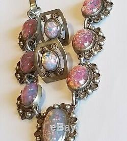 Vintage Sterling Silver 925 Mexico Taxco GM Opals Cabachon Earrings & Necklace