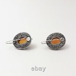 Vintage Sterling Silver Amber Cabochon Filigree Halo Drop Earrings Large 12gr