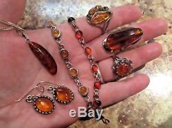 Vintage Sterling Silver Amber Jewelry Lot Rings, Bracelets, Earrings, Necklace