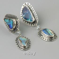 Vintage Sterling Silver Big Opal Earrings Southwest Native American Large