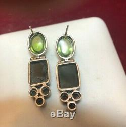 Vintage Sterling Silver Black Onyx Gemstone Necklace Signed Qt Earrings Peridot