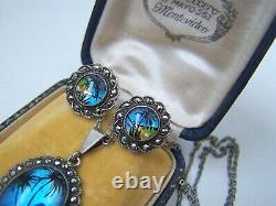 Vintage Sterling Silver Butterfly Wing Marcasite 16 Necklace Earrings Set Tlm