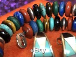 Vintage Sterling Silver Carolyn Pollack Bracelet & Signed Zuni Gemstone Earrings