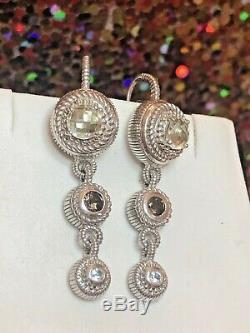 Vintage Sterling Silver Designer Signed Judith Ripka Earrings Gemstones Drop