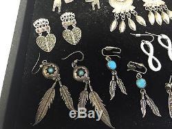 Vintage Sterling Silver Earring Lot! 10 Pairs of Earrings