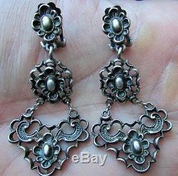 Vintage Sterling Silver Earrings Chandelier 3 Tier Baroque Scroll Design Signed