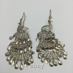 Vintage Sterling Silver Filigree Peacock Chandelier Drop Dangle Earrings 925