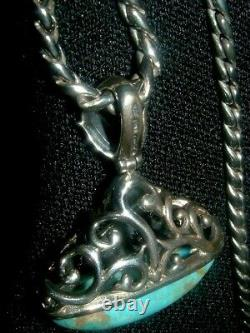 Vintage Sterling Silver Filigree Turquoise Necklace & Earrings Chunky Set Native