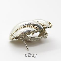 Vintage Sterling Silver & Gold Large Modern Ribbed Bold French Clip Earrings