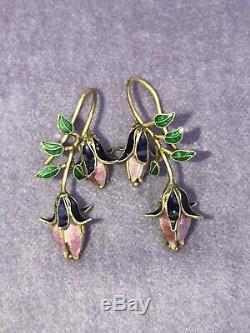 Vintage Sterling Silver Gold Wash Cloisonné Enamel Thousand Flowers Earrings