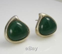 Vintage Sterling Silver Green Jade Modernist Angela Cummings Pierced Earrings