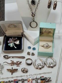 Vintage Sterling Silver Jewelry Lot. 516 grams. Brooches, Earrings, Bracelets +