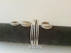 Vintage Sterling Silver Jewelry Set Hanmade Bracelet, Earrings and Ring Set