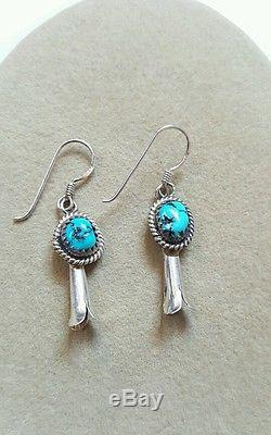 Vintage Sterling Silver Kingman Turquoise Squash Blossom Necklace Navajo Earring