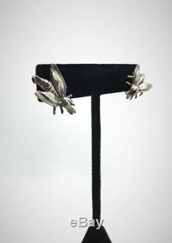 Vintage Sterling Silver Lightening Bug Firefly Flying Insect Screw Back Earrings