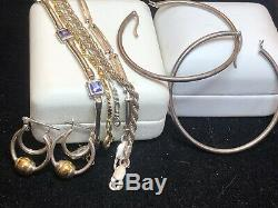 Vintage Sterling Silver Lot Bracelet Italy Otc & Earrings Hoops