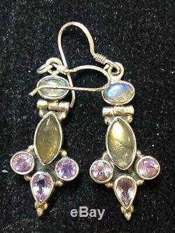 Vintage Sterling Silver Lot Gemstone Rings & Earrings Moonstone Amethyst Topaz