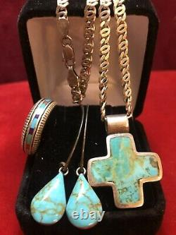 Vintage Sterling Silver Lot Jewelry Southwestern Ring Earring Cross Turquoise