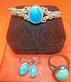 Vintage Sterling Silver Lot Jewelry Turquoise Southwestern Bracelet Ring Earring